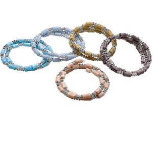 Bracelet Mix, Cat's Eye Glass / Steel Memory Wire / Silver-coated Plastic, Mixed Colors, 16mm Wide, 7 Inches. Sold Per Pkg 5