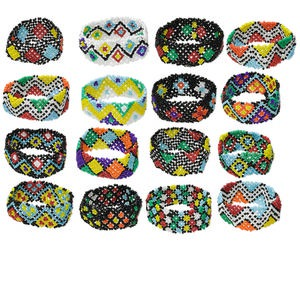 Bracelet Mix, Stretch, Glass, Multicolored, 26mm Wide, 6-1/2 Inches. Sold Per Pkg 16