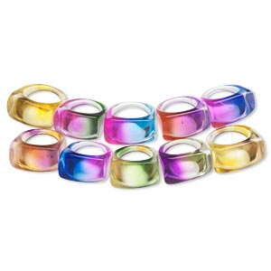 Ring Mix, Acrylic, Multiple Colors, Large Band 24x15mm Rounded Rectangular Shape, Sizes 6-9. Sold Per Pkg 10