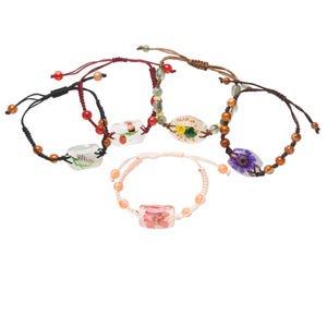 Bracelet Mix, Resin Cotton, Multicolored, Mixed Size Shape Flower Design, Adjustable 5-1/2 8-1/2 Inches Macramé Knot Closure. Sold Per Pkg 5