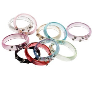 Ring Mix, Acrylic Glass Rhinestone, Clear Multicolored, Sizes 6-10. Sold Per Pkg 10