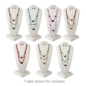 Necklace Earring Mix, Acrylic / Glass / Imitation Rhodium-finished Steel, Fall Colors, Medium Nugget, 38-inch Continuous Loop Necklace, 1-1/4 Inch Earrings Fishhook Earwire. Sold Per Pkg 12 Sets