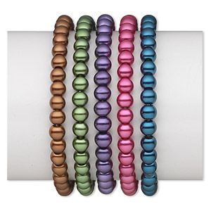 Bracelet Mix, Stretch, Glass Pearl, Mixed Colors, 6mm Round, 6 Inches. Sold Per Pkg 5
