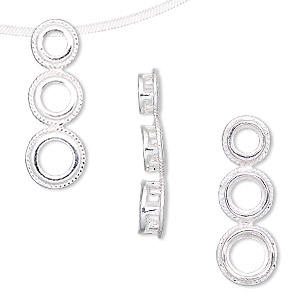 Pendant, slide, sterling silver, 24x9mm rounds with rope