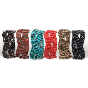 Bracelet Mix, Cuff, 15-strand, Glass Steel, Autumn Tones, 34mm Wide, Adjustable 6-8 Inches. Sold Per Pkg 6