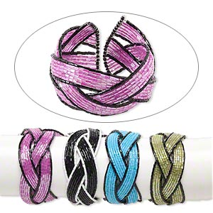 Bracelet Mix, 21-strand, Glass Steel Memory Wire, Mixed Colors, 35-40mm Wide, Adjustable. Sold Per Pkg 4