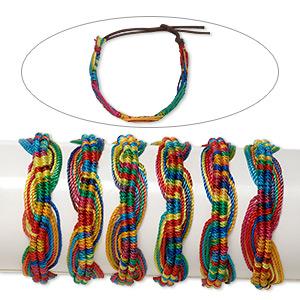 Bracelet Mix, Cotton Nylon, Rainbow Colors, 18mm Wide Twist Design, Adjustable 6-1/2 9 Inches Tie Closure. Sold Per Pkg 6