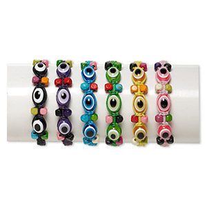 Bracelet Mix, Wood (dyed) / Cotton / Acrylic, Multicolored, 5mm Square 13x10mm Oval Wards Evil Eye Design, Adjustable 6-1/2 8 Inches Tie Closure. Sold Per Pkg 6