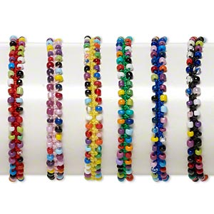 Bracelet Mix, Nylon / Porcelain / Glass, Multicolored, 7mm Wide Flat Knot, Adjustable 6 7-1/2 Inches Tie Closure. Sold Per Pkg 6