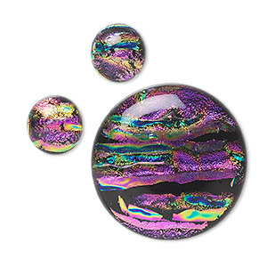 Cabochon Dichroic Glass Purple And Multicolored 12mm