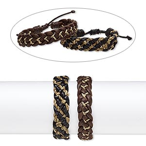 Bracelet Mix, Leather Grass (natural / Dyed), Black Brown, 16mm Wide, Adjustable 7-1/2 8-1/2 Inches Knot Closure. Sold Per Pkg 2