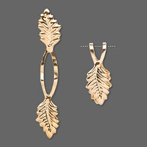 Bail, Fold-over, Gold-plated Brass, 39x7mm Y-style Leaf 20mm Grip Length. Sold Per Pkg 100