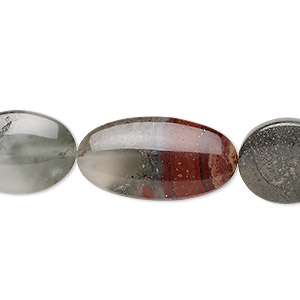 Bead Mix, African Bloodstone (natural), 16x13.5mm / 19x13.5mm / 25x13mm Flat Oval, B Grade, Mohs Hardness 6-1/2 7. Sold Per 8-inch Strand, Approximately 10 Beads