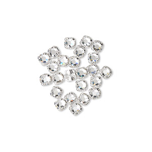 Bead, Swarovski® crystals and silver-plated pewter (tin