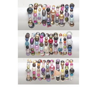 Bracelet Mix, Stretch, Acrylic, Mixed Colors, 18-42mm Wide 5mm-32x27mm Mixed Shape, 6-1/2 Inches. Sold Per Pkg 10