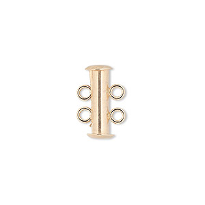 Clasp, 2-strand Slide Lock, 14Kt Gold-filled, 16x5mm Tube. Sold Individually