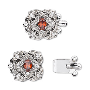 Clasp, 3-strand Tab, Cubic Zirconia Rhodium-plated Brass, Red Clear, 15x15mm Flower 6x4mm Oval. Sold Individually