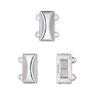 Clasp, 2-strand Magnetic, Sterling Silver, 14x7mm Rectangle. Sold Individually