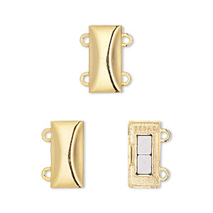 Clasp, 2-strand Magnetic, vermeil, 14x7mm Rectangle. Sold Individually