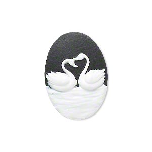 Cabochon, Acrylic, Black White, 25x18mm Non-calibrated Oval Cameo Swans. Sold Individually