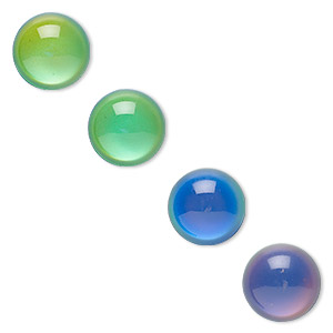 Cabochon, Acrylic, Multicolored, 16mm Color-changing Non-calibrated Round. Sold Per Pkg 4