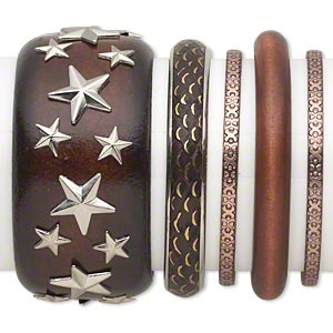 Bracelet Mix, Bangle, Wood (dyed) / Copper- / Silver- / Antiqued Gold-finished Steel, Brown, 4.5-40mm Wide Mixed Design, 7-1/2 8 Inches. Sold Per 5-piece Set