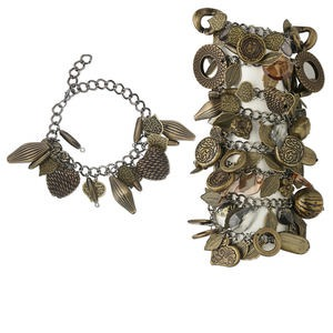Bracelet Mix, Acrylic Gunmetal- Antique Brass-plated Steel, Brass Black, Mixed Shape, 7 Inches 2-1/2 Inch Extender Chain Lobster Claw Clasp. Sold Per Pkg 8
