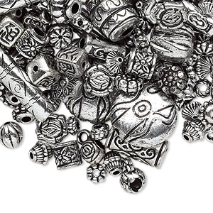 Bead Mix, Antiqued Silver-finished Plastic, 6.5x2mm-25x19.5mm Mixed Shape. Sold Per 250-gram Pkg, Approximately 1,200 1,500 Beads