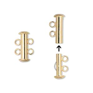 Clasp, 2-strand Slide Lock, Gold-plated Brass, 16x6mm Tube. Sold Per Pkg 4