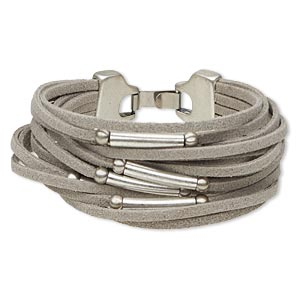 Bracelet, 16-strand, Suede (dyed) Antique Silver-plated pewter (zinc-based Alloy), Grey, 19mm Wide 5mm Round 20x4mm Round Tube, 7 Inches Hook-and-eye Clasp. Sold Individually