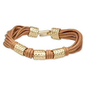 Bracelet, 11-strand, Leather (dyed) Gold-finished pewter (zinc-based Alloy), Light Brown, 13mm Wide 12mm Matte Hammered Round Tube, 7 Inches Hook-and-eye Clasp. Sold Individually