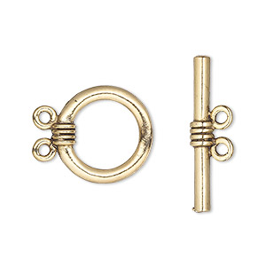 Clasp, 2-strand Toggle, Antique Gold-plated Pewter (tin-based Alloy), 16mm Round. Sold Per Pkg 2