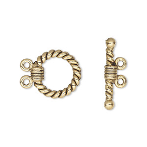 Clasp, 2-strand Toggle, Antique Gold-plated Pewter (tin-based Alloy), 14mm Twisted Round. Sold Per Pkg 2