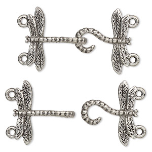 Clasp, 2-strand Hook-and-eye, Antiqued Pewter (tin-based Alloy), 33x18mm Dragonfly. Sold Per Pkg 2