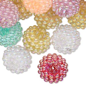 Bead Mix, Acrylic, Assorted Colors AB, 15mm Round Razzleberry Design. Sold Per Pkg 50