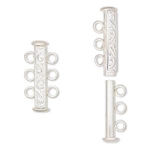Clasp, JBB Findings, 3-strand slide lock, sterling silver