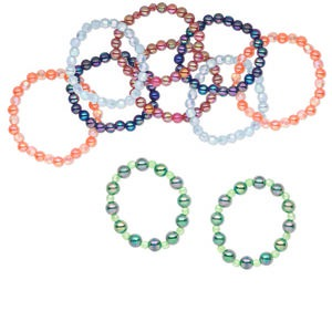 Bracelet Mix, Stretch, Acrylic Resin, Mixed Colors, 8-10mm Mixed Shape, 6 Inches. Sold Per Pkg 10