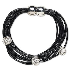 Bracelet, 10-strand, Leather (dyed) / Glass Rhinestone / Silver-finished pewter (zinc-based Alloy), Black Clear, 10mm Round, 6-1/2 Inches Magnetic Clasp. Sold Individually