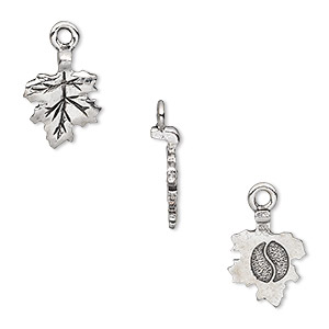 Bail, Glue-on Earring Style, Silver-plated Pewter (tin-based Alloy), 17x11mm 11x10mm Leaf Flat Base. Sold Per Pkg 4