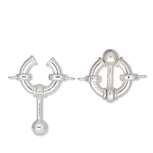 Clasp, JBB Findings, ball and circle, sterling silver