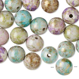 Bead Mix, Acrylic, Mixed Colors, 10mm Round Speckles 1-1.5mm Hole. Sold Per Pkg 100