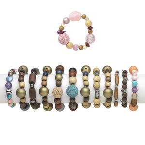 Bracelet Mix, Stretch, Acrylic / Glass / Wood, Steel Cotton Cord, Multicolored, 18-22mm Wide 2mm-36x24mm Mixed Shapes, 6 Inches. Sold Per Pkg 12