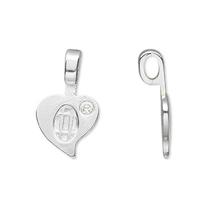 Bail, Aanraku®, Glue-on, Silver-plated pewter (zinc-based Alloy), 23x13.5mm 13.5x10mm Heart Flat Base. Sold Per Pkg 5