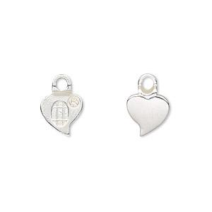 Bail, Aanraku®, Glue-on Earring, Silver-plated pewter (zinc-based Alloy), 13x9mm 9x9mm Heart Flat Base. Sold Per Pkg 4
