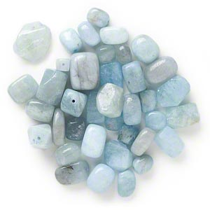 Bead Mix, Aquamarine (dyed / Heated), Blue, Small Medium Nugget, Mohs Hardness 7-1/2 8. Sold Per 1/4 Pound Pkg, Approximately 30-50 Beads
