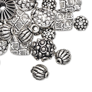 Bead Mix, Antique Silver-plated Copper, 7x6mm-14x8mm Mixed Shape. Sold Per 1-troy Ounce Pkg, Approximately 25-30 Beads