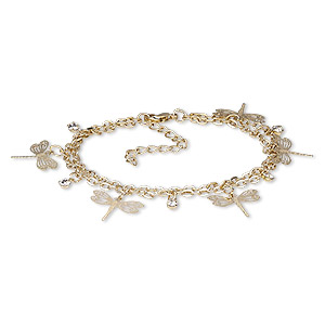 Bracelet, 2-strand, Egyptian Glass Rhinestone Gold-finished Steel, Clear, 23mm Wide 20x18mm Dragonfly, 7-1/2 Inches 1-3/4 Inch Extender Chain Lobster Claw Clasp. Sold Individually