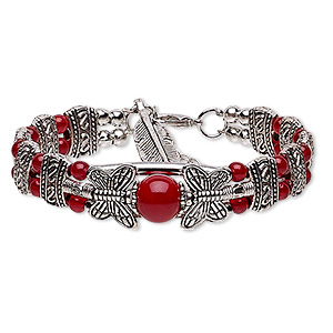 Bracelet, 2-strand, Glass / Silver- / Antique Silver-plated Steel / pewter (zinc-based Alloy), Red, 14mm Wide Butterfly 24x8mm Feather Dangle, 6-1/2 Inches 1-inch Extender Chain Lobster Claw Clasp. Sold Individually