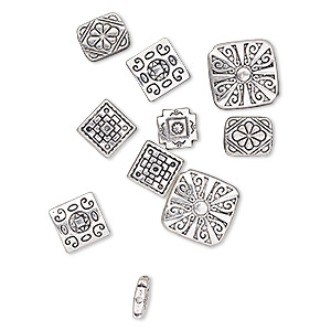 Bead Mix, Antique Silver-plated pewter (zinc-based Alloy), 10x10mm-17x17mm Double-sided Square 12x10mm Double-sided Rectangle. Sold Per Pkg 10