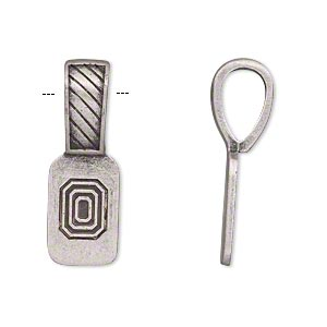 Bail, Glue-on, Antique Silver-plated pewter (zinc-based Alloy), 27x9.5mm Thatch Design 15x9.5mm Flat Base. Sold Individually